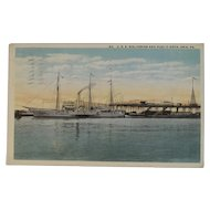 1917 USS Wolverine Postcard Ship Nautical