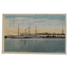 1917 USS Wolverine Postcard Ship Nautical