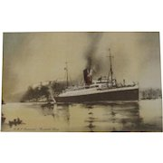 RMS Aurania Ship Postcard Cunard Line Nautical