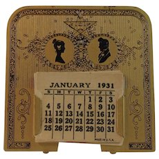 1931 Eastern Star Silhouette Masonic Metal Calendar Art Deco Era