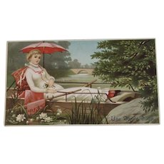 Day's Soap Lady in Row Boat Ad Trade Card
