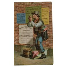 1880s Chase & Sanborn Coffee Hobo Posting Signs Advertising Trade Card