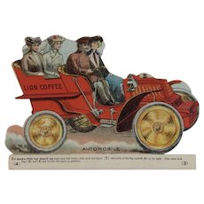 Lion Coffee Toy Series Automobile Die Cut Scrap Trade Card Advertising - Red Tag Sale Item