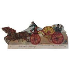 Lion Coffee Toy Series Fire Hose Cart Fireman Die Cut Scrap Trade Card Advertising