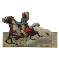 Lion Coffee Toy Series Indian on Pony Die Cut Scrap Trade Card Advertising Native American