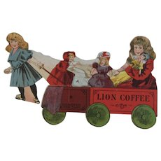 Lion Coffee Toy Series Dorothy & Her Cart with Dolls Die Cut Scrap Trade Card Advertising
