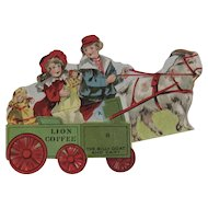 Lion Coffee Toy Series The Billy Goat and Cart with Dolls Die Cut Scrap Trade Card Advertising