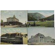 Four Train Station Depot Postcards