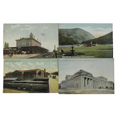 Four Train Station Depot Postcards