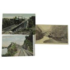 Three Railroad Postcards Denver & Rio Grande, New Castle and Butler Railway, Rockdale Cut