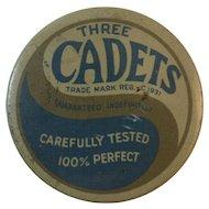Three Cadets Prophylactics Tin 1930s Art Deco