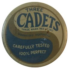 Three Cadets Prophylactics Tin 1930s Art Deco