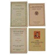 Four Vintage Golf Score Cards