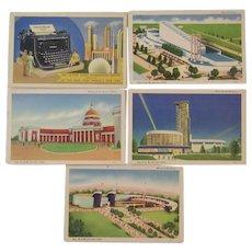 Five 1939 New York World's Fair Postcards