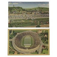 Two Pittsburgh PA Postcards Rodeo and Race Track South Park Allegheny County and Pitt Stadium