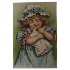 Girl with Kitty Cat York Dental Parlors Trade Card