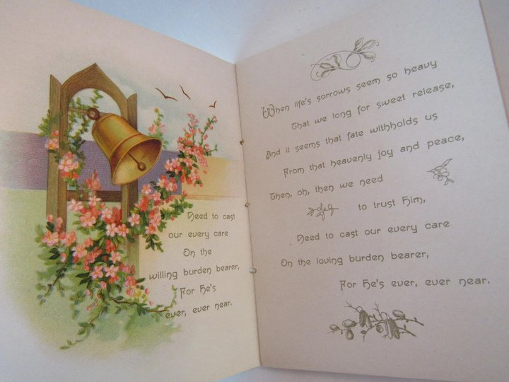 Victorian Poetry Book The Burden Bearer Chromolithograph Illustrations