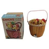 Inikata Japan Windup Chicks in the Basket Toy in Original Box Japanese