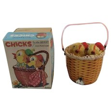 Inikata Japan Windup Chicks in the Basket Toy in Original Box Japanese