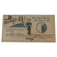 1937 Ready Kilowatt Blotter Advertising PP&L Pennsylvania Power and Light
