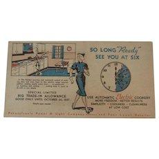 1937 Ready Kilowatt Blotter Advertising PP&L