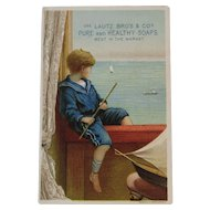 Lautz Soaps Boy with Sailboat Victorian Trade Card Chromolithograph Nautical