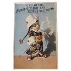Celluloid Waterproof Collars Trade Card Boy Smoking Opium