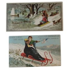 2 Children on Sleds Ad Trade Cards Persian Balm and Shoe Store Boy Waving American Flag Patriotic