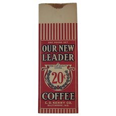 CD Kenny 20 Cent Coffee Sack Bag Never Used Farmhouse Shabby Chic Kitchen Decor