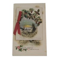 Christmas Booklet Postcard Pinecone Holly Unused USA