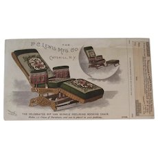 1893 Rip Van Winkle Reclining Rocking Chair Advertising Card from the World's Fair - Red Tag Sale Item