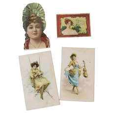 4 Tobacco Lady Trade Cards Honest Long Cut and Mogul Cigarettes