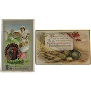 1910 Winsch & 1911 Knopf Thanksgiving Postcards Autumn Vegetables Turkey