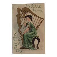 German St. Patrick's Day Postcard Embossed Irish Lady with Harp