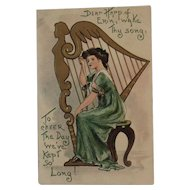 German St. Patrick's Day Postcard Embossed Irish Lady with Harp