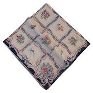 Harper's Bazaar Kerchief of the Moment Handkerchief Hanky Hankie Pink Roses