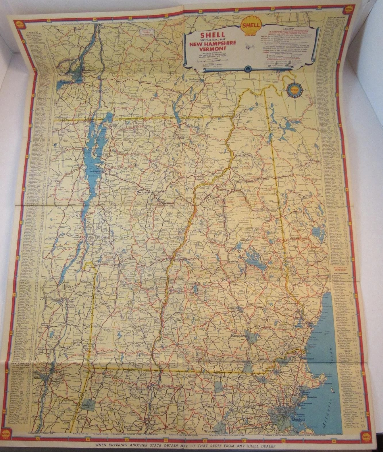1930s Shell Oil Road Map New Hampshire and Vermont SS Moore