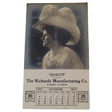 1910 RPPC Calendar Edwardian Lady with Hat Richards Manufacturing Co Aurora, Illinois
