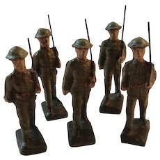 5 Lineol WWI Toy Marching Soldiers WW 1