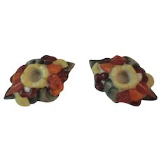 Fulper Pottery Autumn Harvest Candlesticks Fall Colors
