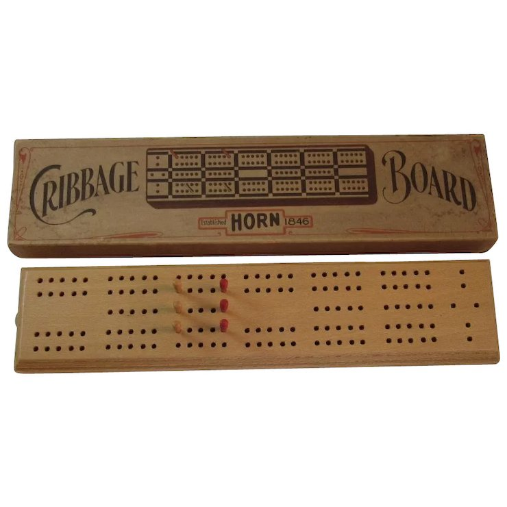 Horn Mcgrillis C 16 Cribbage Board 6 Peg In Original Box Ss Moore