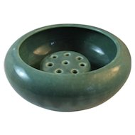 Weller Green Bowl with Flower Frog Art Pottery