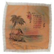 Hawaii Mother Motto Handkerchief Hanky Satin & Lace Mothers Day