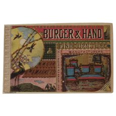 Burger & Hand Fine Furniture Victorian Trade Card with Bird