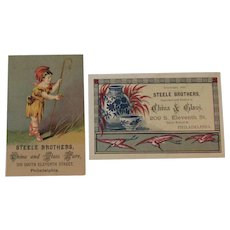 2 Steele Brothers China and Glass Ware Sheep Herder Birds Victorian Trade Cards