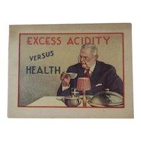 1920s Alka-Seltzer Advertising Booklet - Excess Acidity Versus Health Includes Nervine