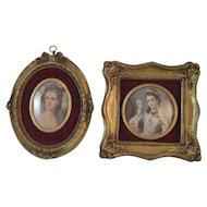2 Gold Gesso Framed Lady Prints