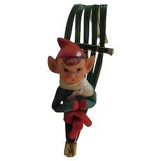 Knee Hugger Elf on Sled Vintage Christmas Ornament Kneehugger Elves Made in Japan