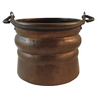 Hand Hammered Copper Hanging Pot with Cast Iron Handle Farm Farmhouse Decor