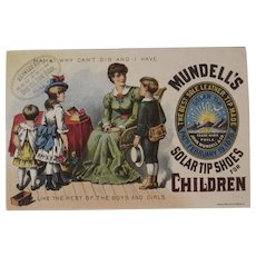 Mundell's Solar Tip Shoes for Children Victorian Advertising Trade Card Chromolithograph